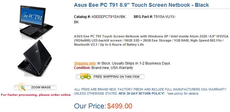 ASUS Eee PC T91 on sale in US: $499 and in-stock [Updated]