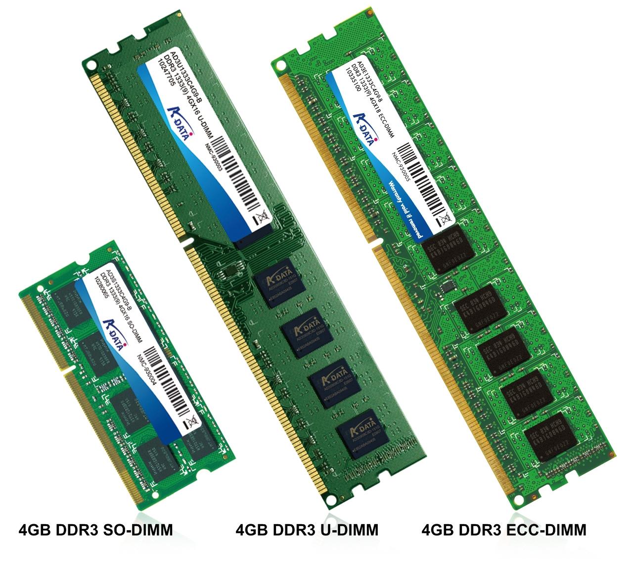 A-DATA 4GB DDR3 memory for laptops, desktops & servers