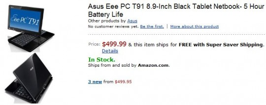 ASUS Eee PC T91 finally available in US: $499.99
