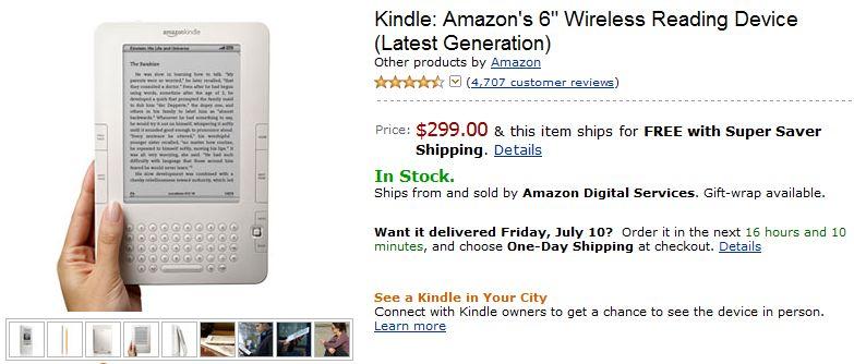 Amazon Kindle 2 drops to $299