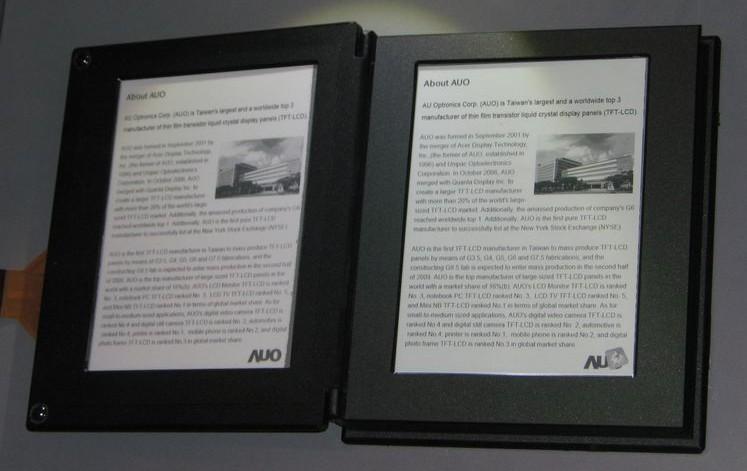 AU Optronics planning 10-inch, A4 touchscreen epaper