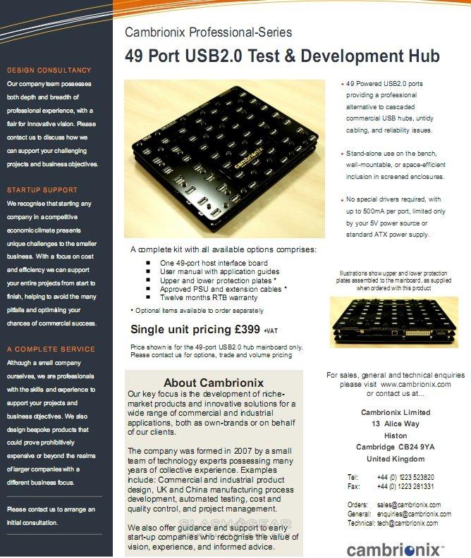 Cambrionix V3 49-port USB Hub breaks cover