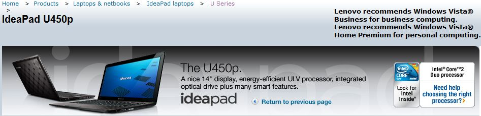 Lenovo IdeaPad U450p 14-inch ultrathin teases with banner