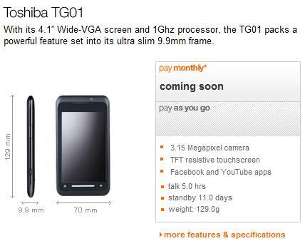 "Toshiba TG01 ""coming soon"" to Orange UK"