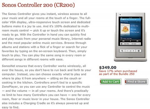 Sonos CR200 product page appears: $349 capacitive remote