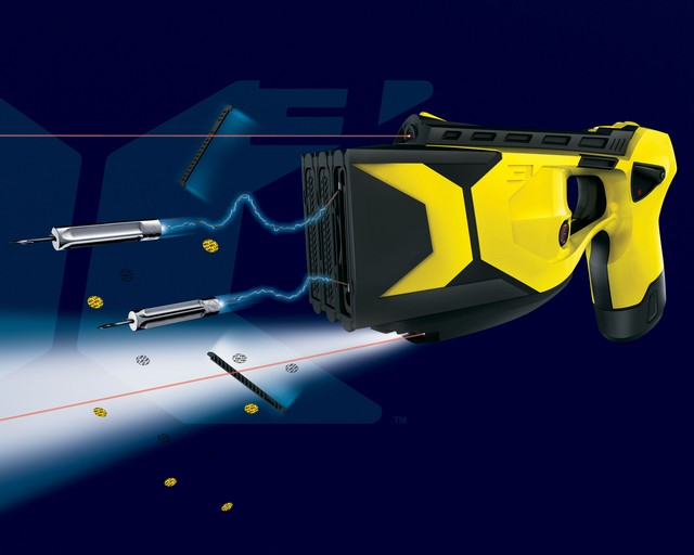 Taser X3 triple shot electro-shock weapon launches