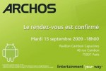 Archos Android Internet Tablet event announced for September 15th