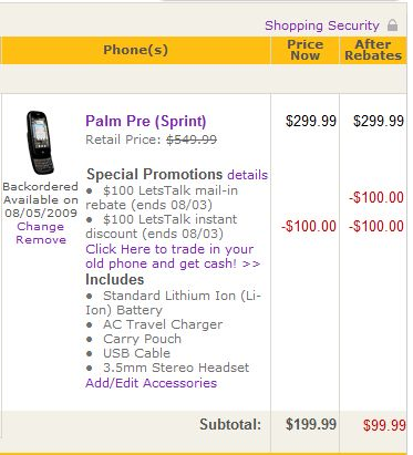 Palm Pre $99.99 only for today only