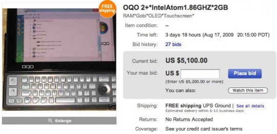 OQO Model 2+ on eBay for $5,100 with days left to go