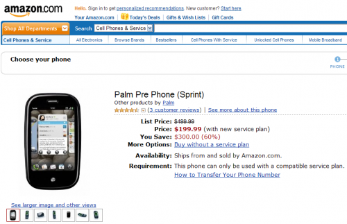 Amazon add Palm Pre to online catalog