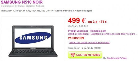Samsung N510 NVIDIA Ion netbook up for pre-order