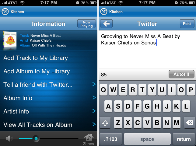 Twitter on Sonos CR for iPhone
