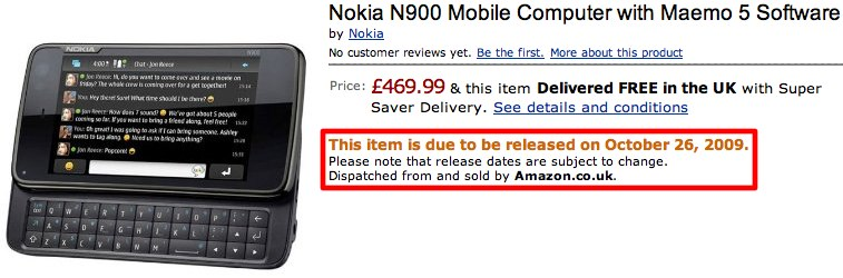 Nokia N900 delayed until end of October?