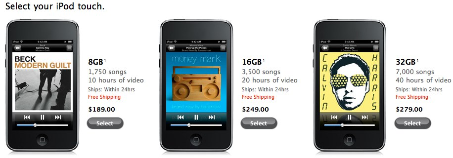 Apple cut iPod touch, nano and classic prices