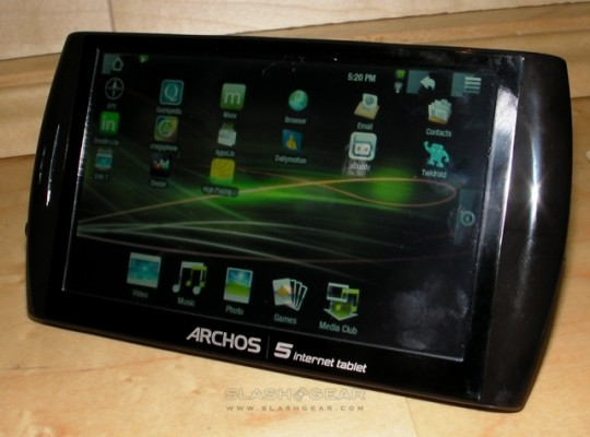 Archos 5 Android Tablet firmware reportedly stable; Android 1.6 Donut by end of 2009