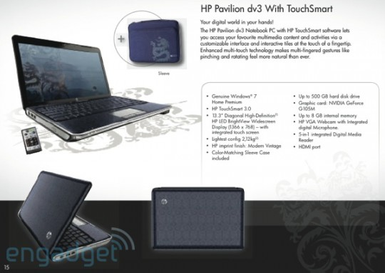 HP Pavilion dv3 TouchSmart notebook leaks, plus new consumer range