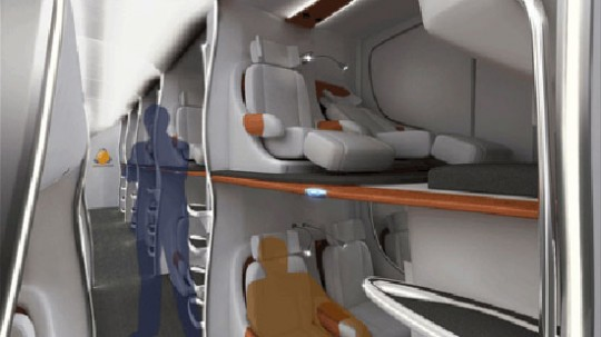 Stacked airplane seating concept terrifying