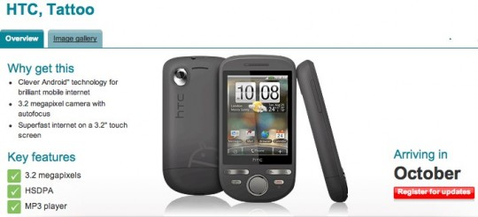 Vodafone UK grab HTC Tattoo for October release