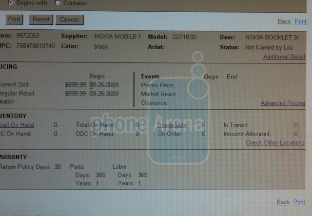 Nokia Booklet 3G hits Best Buy stock system with price