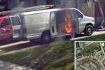 Google's Street View team photos flaming van of death