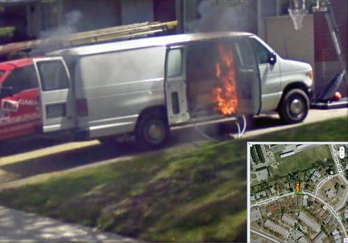 Google's Street View team photos flaming van of death