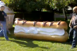 Google throws giant foam eclair on lawn