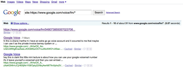 Google Voice voicemails end up in public search results
