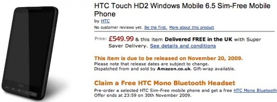 HTC HD2 preorders at Amazon UK: SIM-free on November 20th?