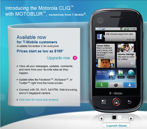 Motorola CLIQ with MOTOBLUR now available on T-Mobile