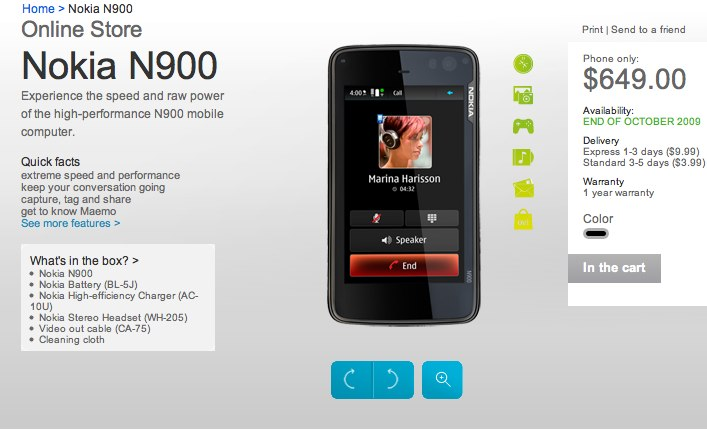 """Nokia N900 shipping """"end of October"""" in US"""