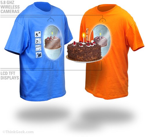 Interactive portal shirts from ThinkGeek combine ugly and geeky in a new and novel way