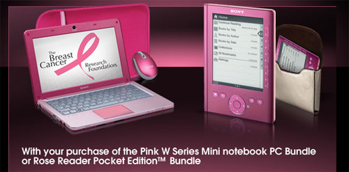 Sony VAIO W goes pink for a good cause, brings Reader Pocket Edition along