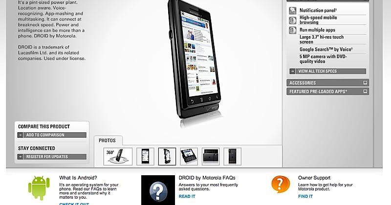 Verizon Motorola Droid product page prematurely published