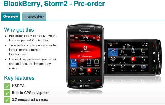 Vodafone BlackBerry Storm 2 9520 arrives October 26th in UK
