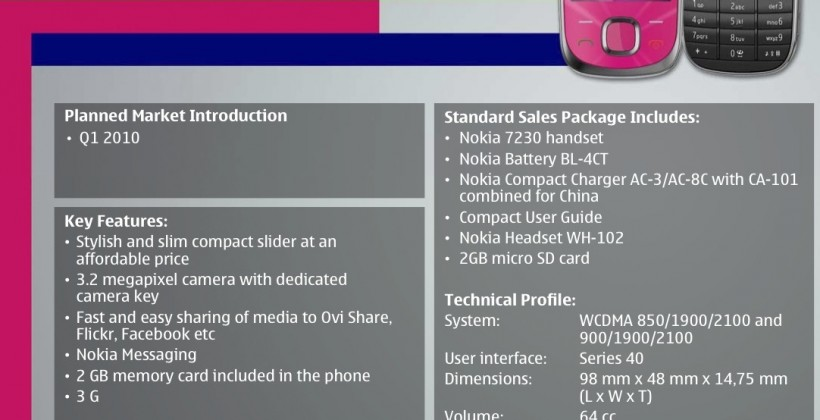 Nokia 6700 Slide and 7230 budget cameraphones outed