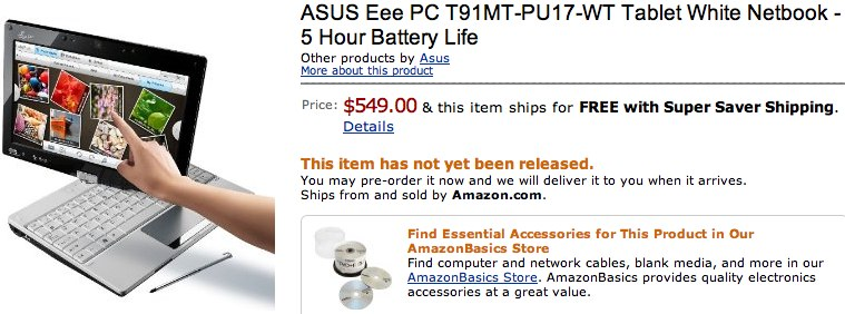 ASUS Eee PC T91MT multitouch up for US preorder