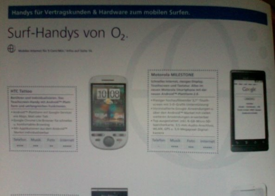 Motorola MILESTONE (aka GSM Verizon DROID) confirmed for O2 Germany