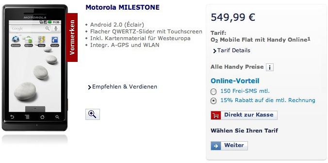 Motorola MILESTONE gets O2 Germany listing for €550
