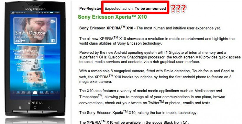 Sony Ericsson XPERIA X10 February launch date yanked