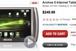 Archos 5 8GB arrives at RadioShack for $250