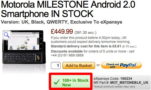 Motorola MILESTONE on sale in UK now