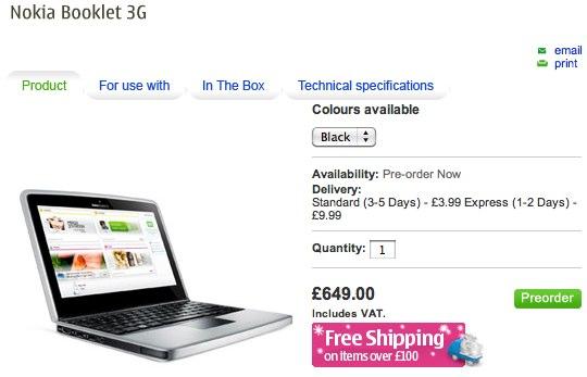 Nokia Booklet 3G up for UK preorder: £649