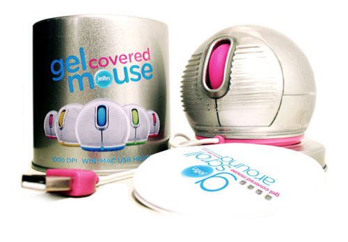 Jelfin ball mouse with gel cover rolls onto scene