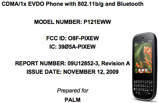 Palm Pixi with WiFi b/g clears FCC; en route to Verizon?