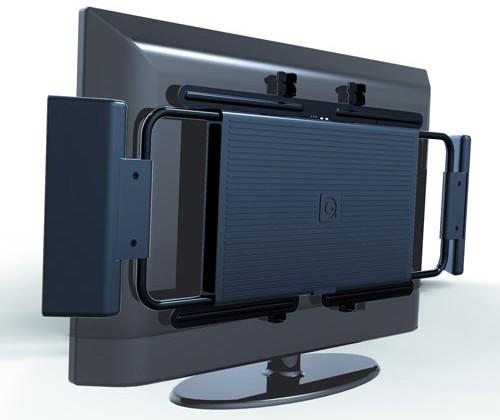 Q-TV 2.1 speaker system hides behind TVs