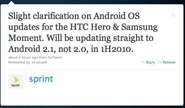 Sprint HTC Hero & Samsung Moment jumping to Android 2.1 in 1H 2010