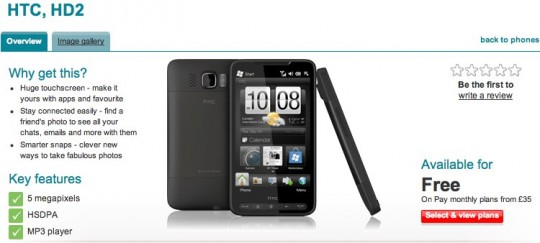 Vodafone drops HTC HD2 from general customer line
