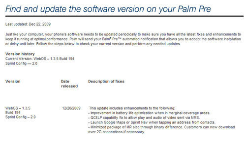 WebOS update 1.3.5 to hit today for Palm Pre