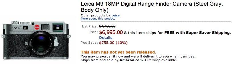 Leica M9 digital range finder gets $7k Amazon preorder