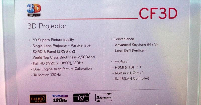 LG CF3D 3D projector arrives May for $10k